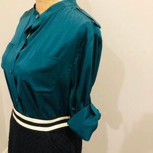 DKNY Teal Green Silk Mandarin Collar Button Blouse